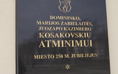 Paminklinė lenta Jonavos miesto įkūrėjams Kosakovskiams