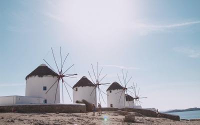 Turkija. Bodrumas. Vėjo malūnai